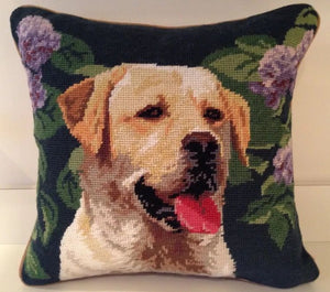 "Yellow Lab/Labrador Retriever Dog Needlepoint Pillow 14"" x 14"""
