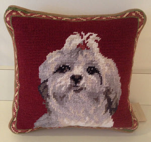 "Shih Tzu Dog Needlepoint Pillow 10""x 10"""