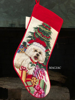Bichon Needlepoint Stocking