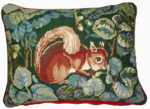 "Needlepoint Squirrel Pillow 12""x16"""