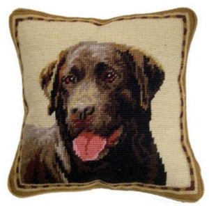 "Chocolate Lab/Labrador Retriever Dog Needlepoint Pillow 10""x 10"""