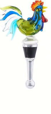 Green Rooster Wine Bottle Stopper Art Glass