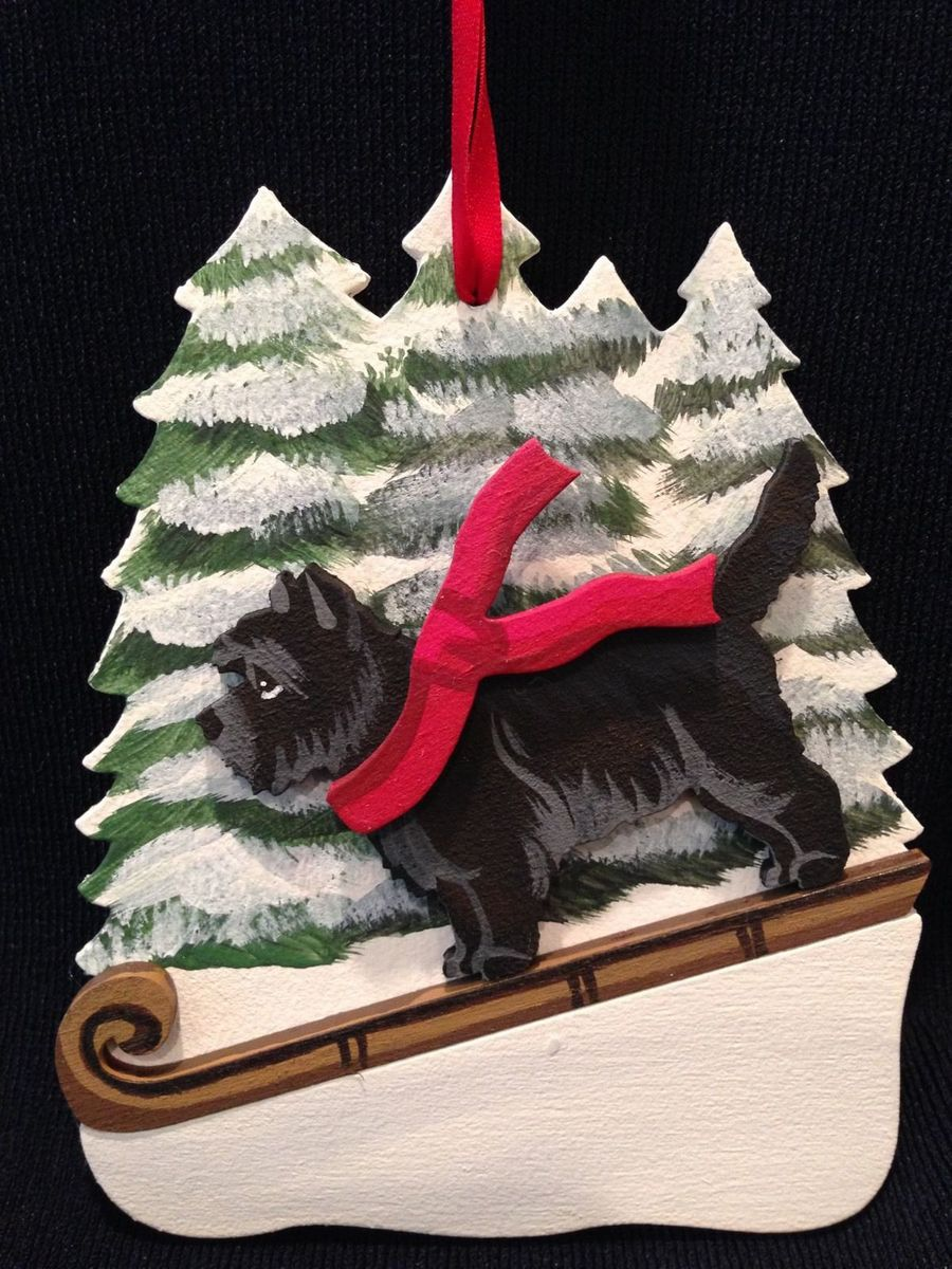 Black Brindle Cairn Terrier Dog Wooden Ornament Made in USA