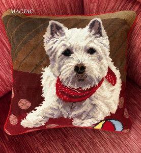 "Westie Dog Needlepoint Pillow 14"" x 14"""