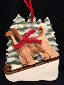 Afghan Hound Fawn Dog Wooden Ornament Made in USA