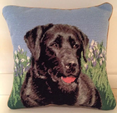 Black Lab/Labrador Retriever Dog Needlepoint Pillow 14