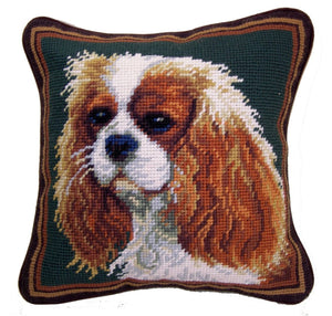 "Cavalier King Charles Spaniel Dog Needlepoint Pillow 10""x10"""