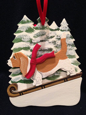 Basset Hound R/W Dog Wooden Ornament Made in USA