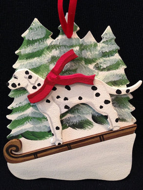 Black/White Dalmatian Dog Wooden Ornament Made in USA