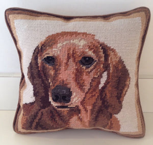 "Red Dachshund Dog Needlepoint Pillow 10""x 10"""
