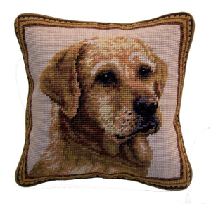 "Yellow Lab Yellow Labrador Retriever Dog Needlepoint Pillow 10""x10"""