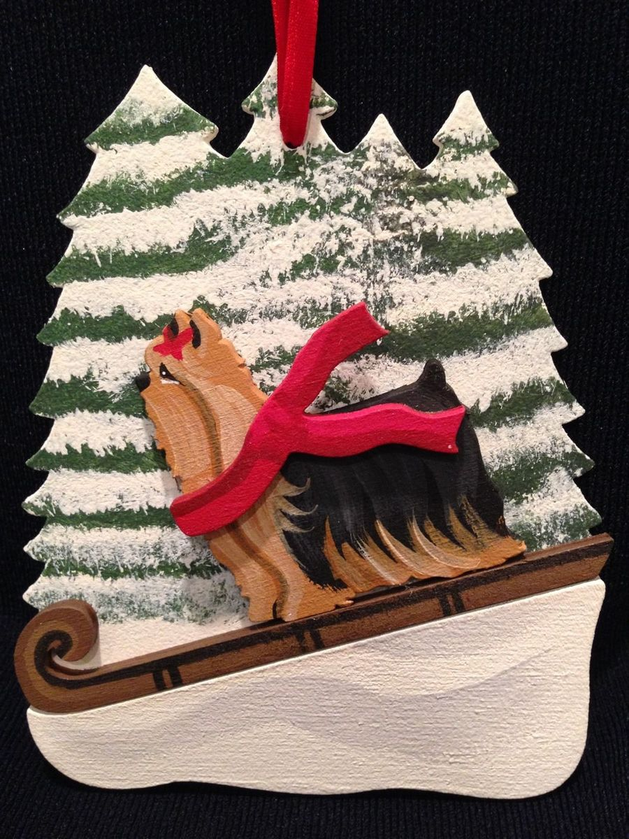 Yorkie Dog Wooden Ornament Made in USA