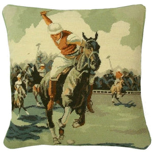 "Needlepoint/Petit Point Polo Player On Horse Pillow 14""x14"""