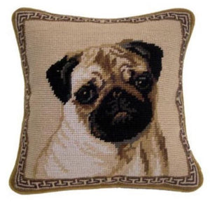 "Pug Dog Needlepoint Pillow 10""x 10"""
