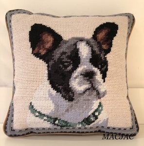 "Boston Terrier Dog Needlepoint Pillow 10""x 10"""