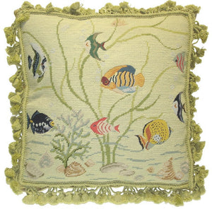 "Needlepoint Fish Pillow 18""x18"""