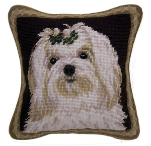 "Maltese Dog Needlepoint Pillow 10""x10"""