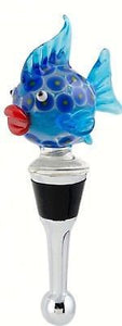 Blue Blowfish Wine Bottle Stopper Art Glass