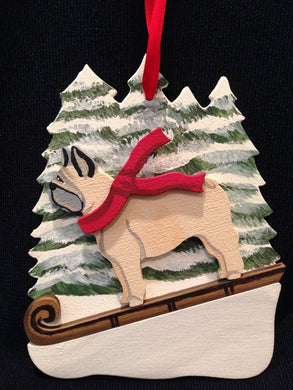 French Bulldog Cream Dog Wooden Ornament Made in USA