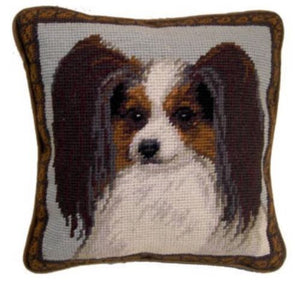 "Papillon Dog Needlepoint Pillow 10""x10"""