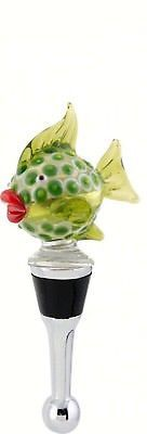 Green Blowfish Wine Bottle Stopper Art Glass