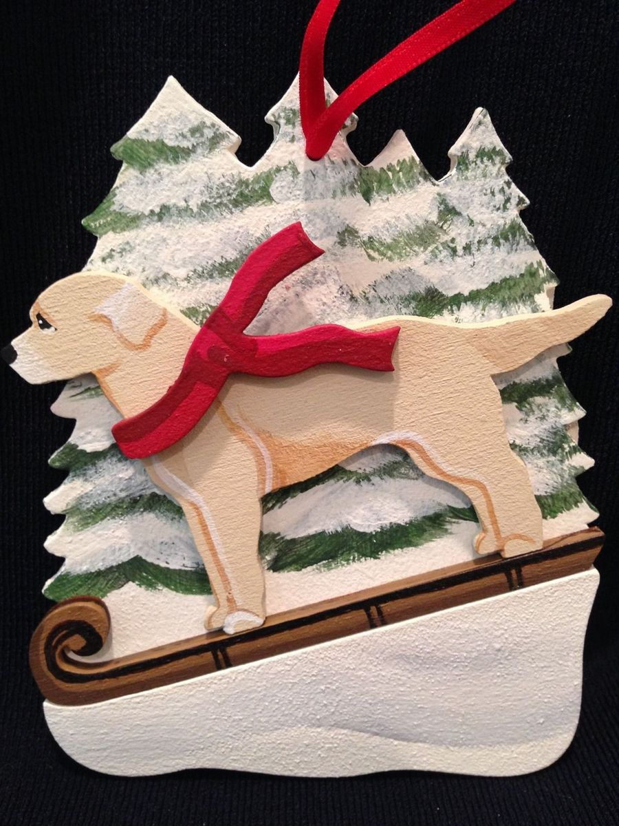 Yellow Lab/Labrador Retriever Dog Wooden Ornament Made in USA