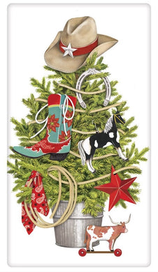 Flour Sack Kitchen Dish Towel Cowboy Tree Mary Lake - Thompson