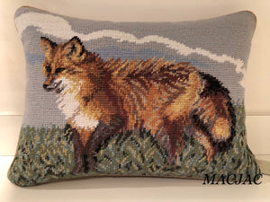 "Fox Needlepoint Pillow 12""x16"""