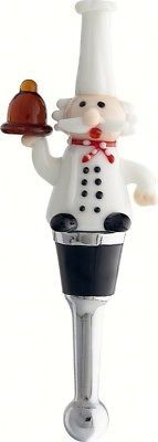 Chef Wine Bottle Stopper Art Glass