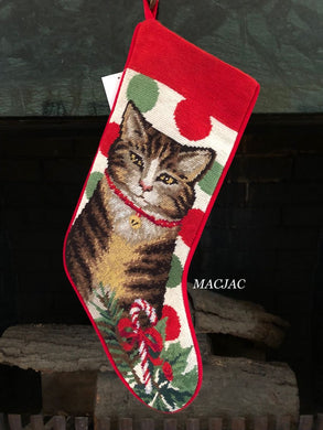 Grey Tabby Cat Needlepoint Stocking