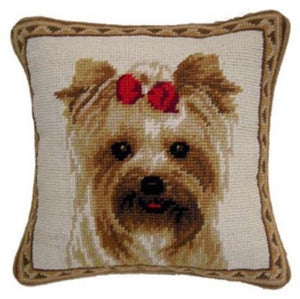 "Yorkie Dog Needlepoint Pillow 10""x 10"""