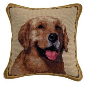 "Golden Retriever Dog Needlepoint Pillow 10""x 10"""