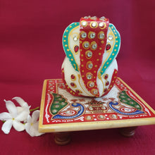 Load image into Gallery viewer, Marble chowki ganesha