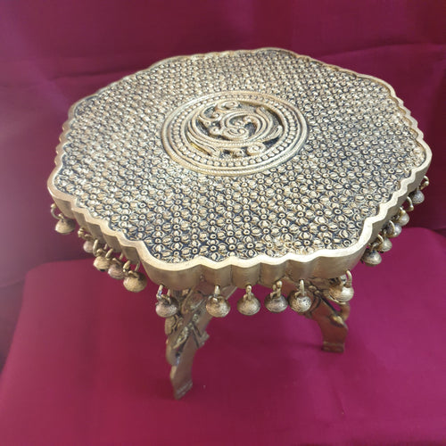 Hexagon divine carved stool