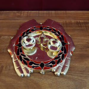 Ganesha welcome plate with kumkum cups