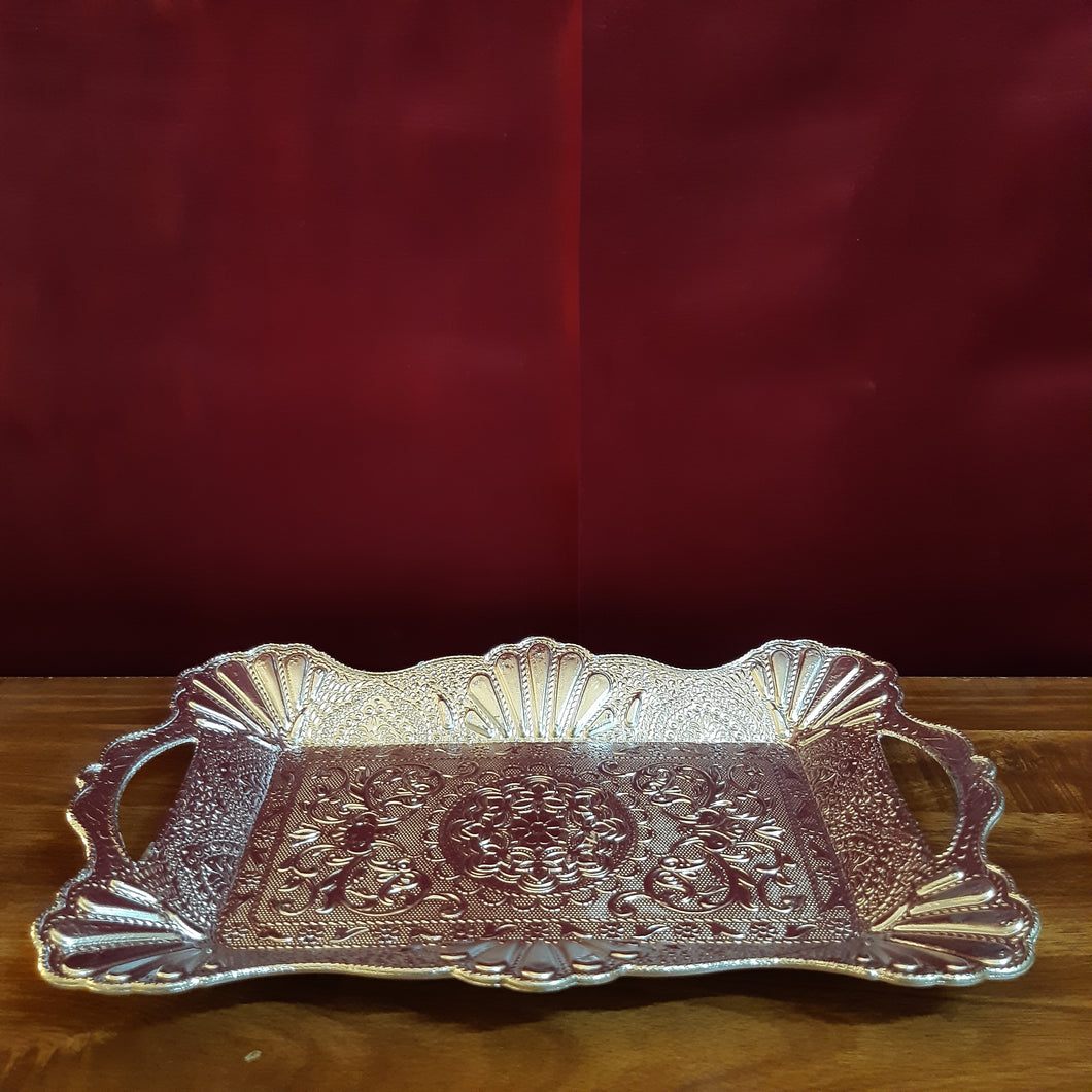 Carved rectangular plate with handle