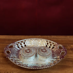 Oval plate with kumkum cups