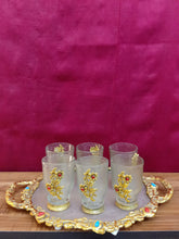 Load image into Gallery viewer, Golden brocade tray of 6 glasses