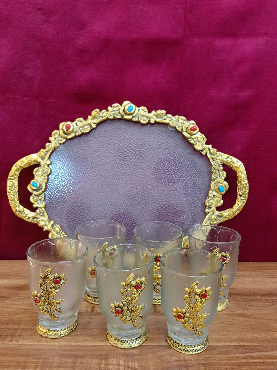 Golden brocade tray of 6 glasses