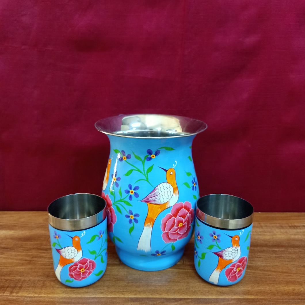 Painted steel jug with twin tumblers