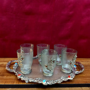 Silver brocade tray of 6 glasses