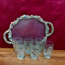 Load image into Gallery viewer, Silver brocade tray of 6 glasses