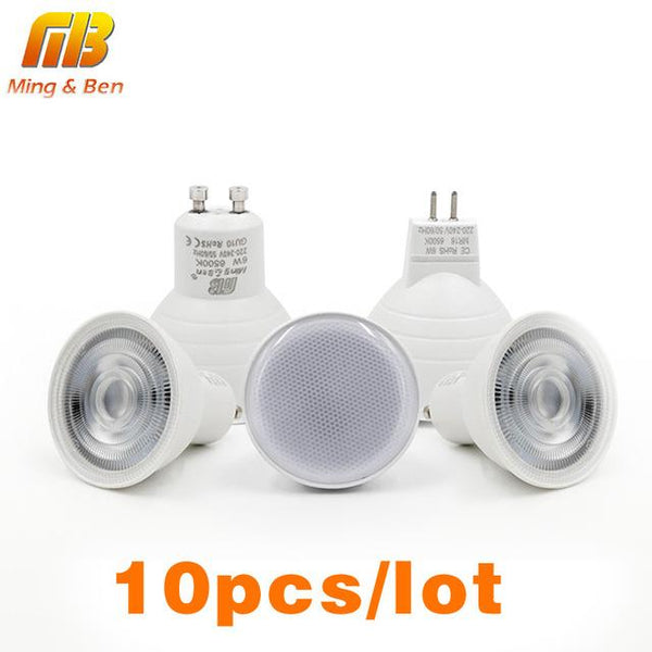 [MingBen]10pcs/Lot LED Light Bulb Spotlight GU10 MR16 6W 220V COB Chip Beam Angle 24 120degree Spotlight LED Lamp For Table Lamp