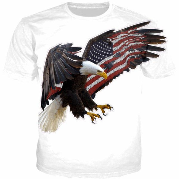 YI1004 American Flag Wings Flying Eagle Print Fun T-Shirt Cool White Tops T Shirts