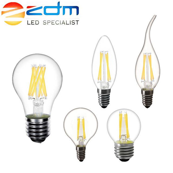 ZDM LED Candle C35 G45 vintage lamp E14 LED E27 A60bulb 220v LED Globe decorative 2W 4W 6W 8W Filament Edison LED Light Bulbs