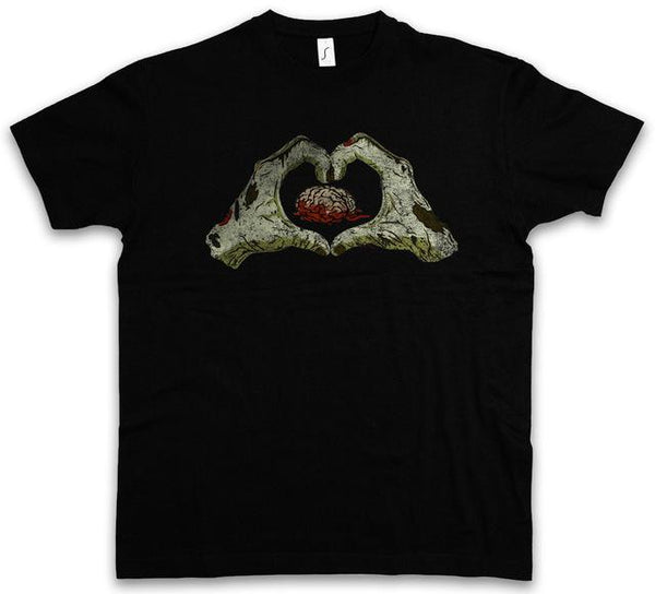 Zombie Heart T Shirt Living Dead The Walking Fun Smile Zombies Brain Eater Love