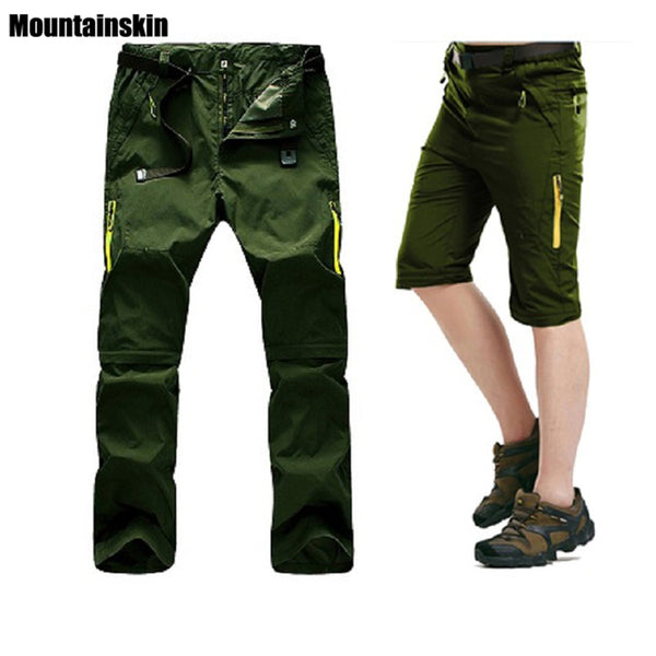 5XL Mens Summer Quick Dry Removable Pants Outdoor Sport Waterpoof Brand Shorts Hiking Trekking Thin Male Fishing Trousers VA025