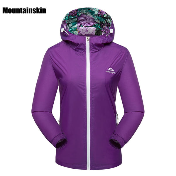 Mountainskin Women's Spring Breathable Quick Dry Jackets Outdoor Sport Waterproof Coats Hiking Trekking Female Windcheater VB036