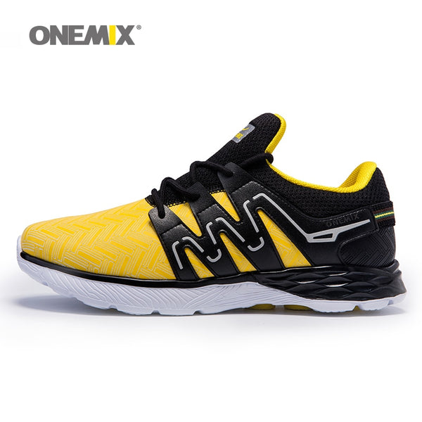 Onemix men's running shoes leather shoes reflective male athletic shoes outdoor sports lightweight sneakers for jogging trekking