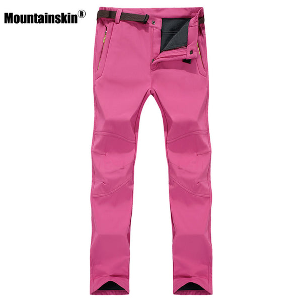 7XL Women's Winter Softshell Fleece Pants Outdoor Waterproof Hiking Camping Trekking Climbing Female Sportswear Trousers VB042